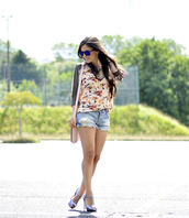 petit and sweet couture,shirt,shorts,bag,shoes,sunglasses,jewels