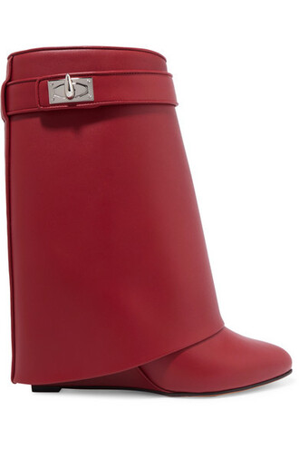shark leather boots leather red shoes
