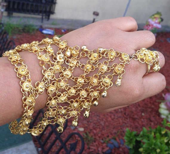 Vintage Belly Dancer Bracelet,Slave Bracelet, Gold plated slave Bracelet