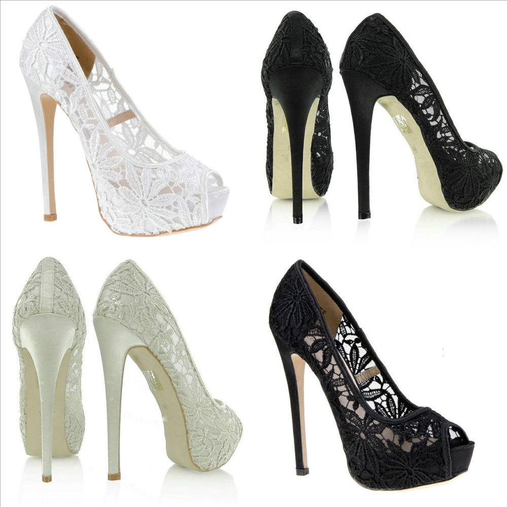 Ladies platform high heel lace cut out peep toe flower wedding prom size 2
