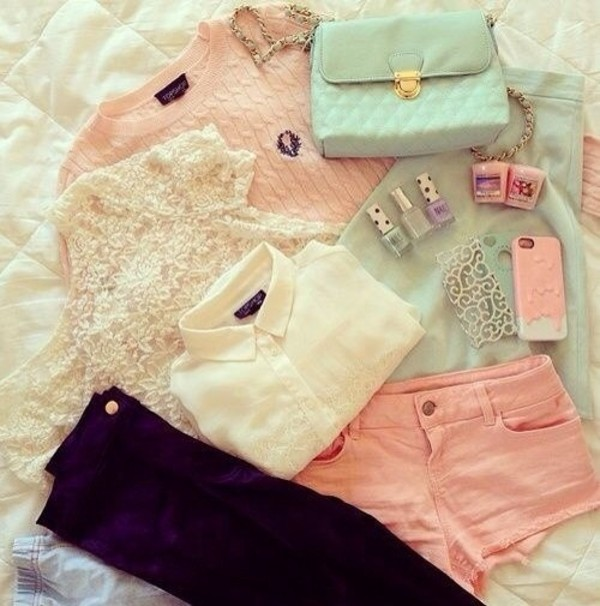 sweater shorts blouse shirt bag