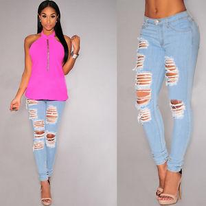 d3e4bc0d3d78 New Sexy Women Denim Skinny Pants High Waist Stretch Jeans Slim ...