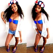 jewels,flower crown,red white and blue,swimwear