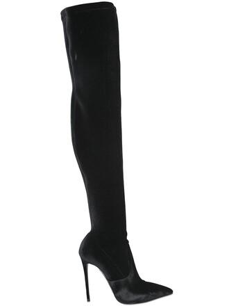 over the knee boots velvet black shoes