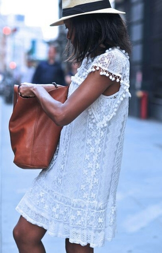 dress white pom poms crochet dress crochet streetwear lace dress white lace dress lace white lace hipster festival dress boho chic summer dress summer outfits knee length dress clothes boho dress bag brown bag vintage dress beach girly dress flowers cute dress white dress shirt dress boho casual