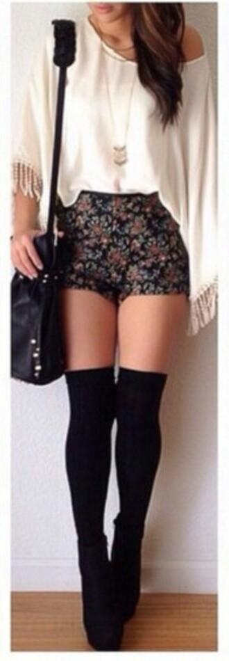 shorts high waisted shorts flowered shorts tight black bag blouse socks tights shoes