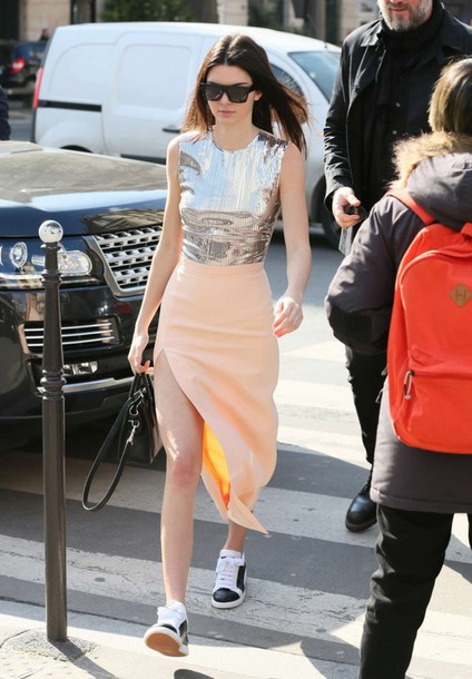skirt maxi skirt kendall jenner sneakers top sequins shoes