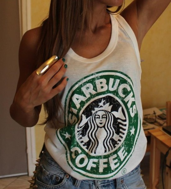 t-shirt tank top tank top summer starbucks coffee cute starbucks logo shirt top
