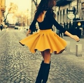 skirt,mustard skirt,mustard