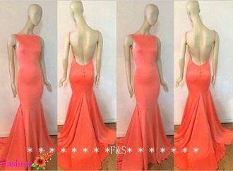 dress prom dress long dress open back dress backless dress spaghetti strap prom peach black high neck high neckline