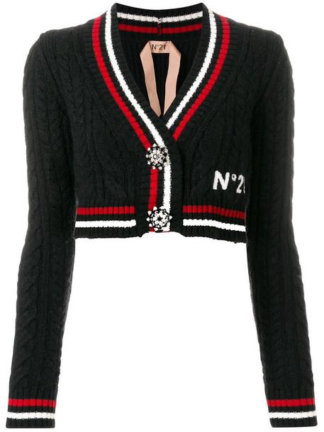 No21 cardigan cardigan cropped women mohair cotton black wool knit sweater