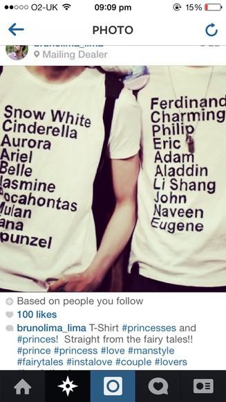 princess disney matching t-shirt couples funny