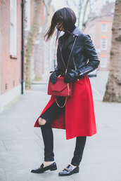 the golden diamonds,blogger,gloves,red coat,loafers,winter outfits,red bag,jacket,jeans,bag,sunglasses,shoes,leather gloves,black loafers