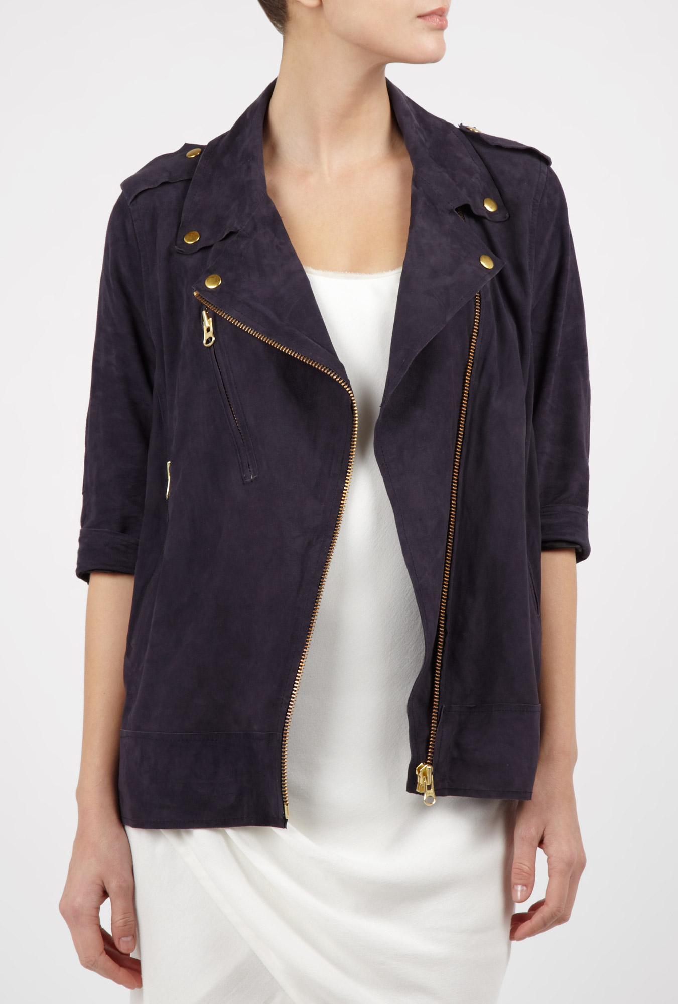 Navy blue smith suede jacket by acne