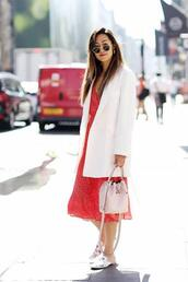 lefashion,blogger,sunglasses,jacket,dress,bag,white blazer,blazer,bucket bag,loafers,red dress,midi dress