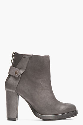 Surface To Air Dark Grey Matte Leather Atik V1 Buckled Boots for women | SSENSE