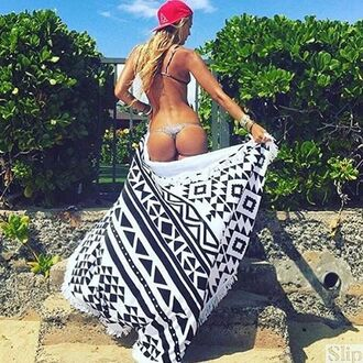home accessory beach towel summer black and white trendy cool sexy bikiniluxe
