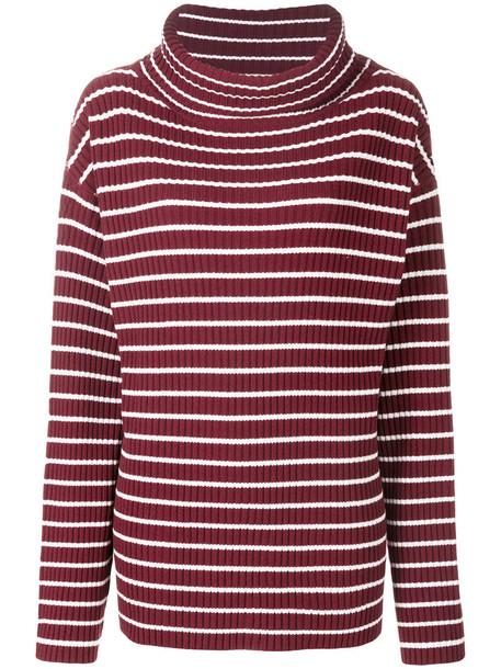 The Gigi - striped roll neck top - women - Merino - S, White, Merino