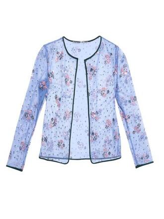 cardigan embellished floral blue sweater