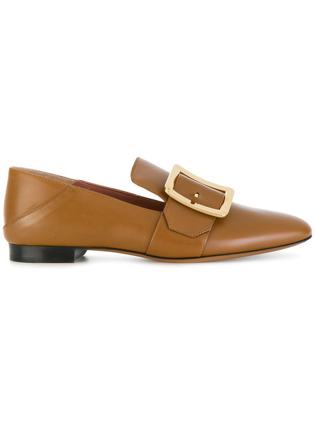 Bally women loafers leather brown shoes