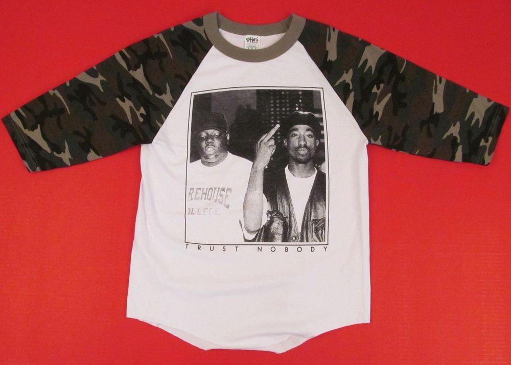 TUPAC BIGGIE TRUST NOBODY Camouflage Raglan T-shirt NOTORIOUS B.I.G 2PAC S-XL