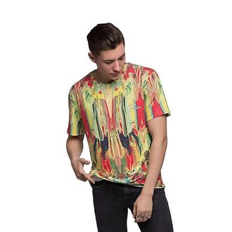 t-shirt print yellow red printed t-shirt style streetwear streetstyle fusion colorful colorful top women summer t shirt menswear