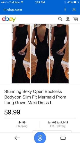 dress black long dress prom dress black dress open back backless dress mermaid prom dress gown prom bodycon dress