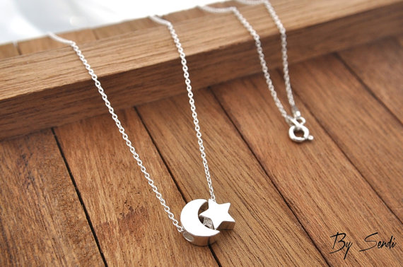 Sterling silver star moon necklace star necklace star pendant sterling silver star moon necklace star necklace star pendant star silver star moon moon silver aloadofball Image collections