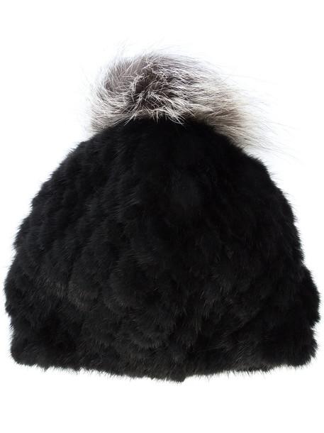Jocelyn fur women beanie pom pom beanie black hat