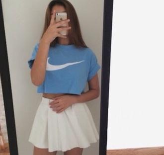 shirt blue nike cropped tee love fashion