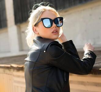 sunglasses quay mirrored sunglasses cat eye leather jacket jacket black jacket nude lipstick