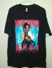 shirt,tour,2016,anti,black,blue,red,celebrity,rihanna