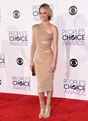 dress,bodycon dress,midi dress,nude,nude dress,asymmetrical dress,one shoulder,sandals,clutch,people's choice awards,amber valletta