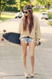 sweater,sunglasses,hat,shoes,shorts,california girl beauty,mini shorts,distressed denim shorts,shirt,band t-shirt,skateboard,usa,beige dress,vans,hippie,vintage,hair,brown jacket