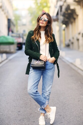 dulceida blogger jacket sweater jeans bag shoes sunglasses