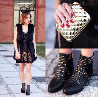 dress fashion week day fashion week rivet stud boots gold brand bag cute black dress shoes rivet boots