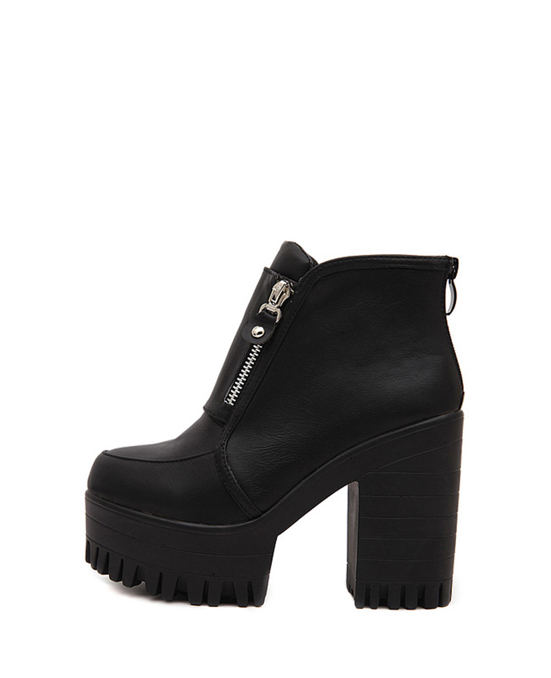 Heel black ankle boots