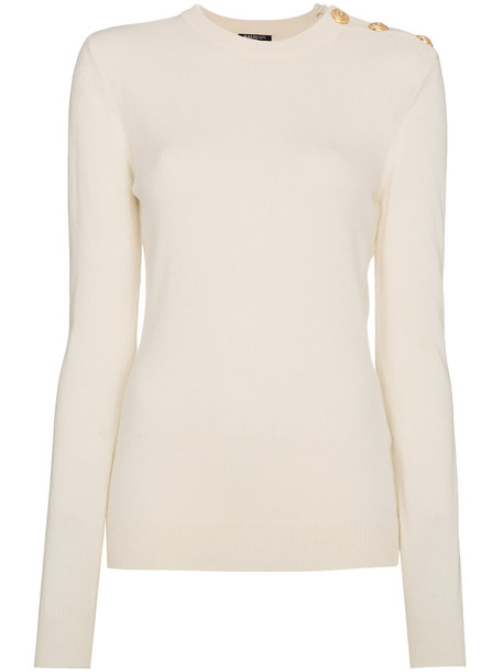 Balmain jumper cashmere jumper women gold white wool sweater