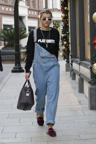 sweater overalls mules fall outfits model off-duty streetstyle sofia richie denim overalls denim thebudgetbabe blogger bag sunglasses jewels