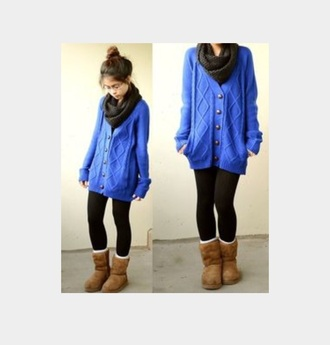 cardigan blue sweater knitted scarf leggings