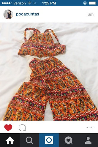 pants coachella orange dress colorful crop tops summer outfits paisley