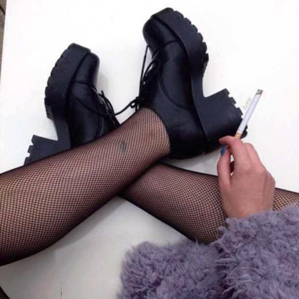 shoes grunge indie alternative vintage black boots heels boots grunge shoes alternative purple dress fur coat