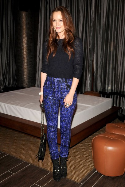 leighton meester gossip girl blair waldorf blue pants pants