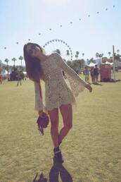 dress,festival,crochet,hipster,hippie,indie,vintage,bag,shoes,lace,coachella,brunette,boho,bohemian,gypsy,pretteeh,white,outfit,brown,knitwear,perfect in every way,long,sleeve,see through,clothes,carnival,white crochet dress,top,bohemian dress,festival top,white dress,indie boho,vintage dress,cute dress,summer dress,lace dress,encaje,retro,fashion,fresh fizzle,cream,boho dress,crochet dress,festival dress