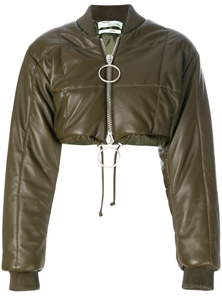 Off-White - cropped bomber jacket - women - Leather/Polyester/Viscose - 36, Green, Leather/Polyester/Viscose