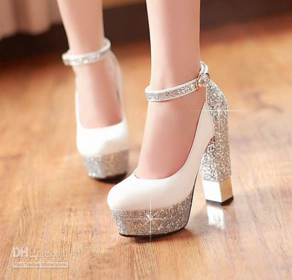 high top sneaker fashion high heels style heels socks black/white heels white heels white shoes silver high heels silver silver shoes ankle strap heels pretty formal formal shoes prom shoes