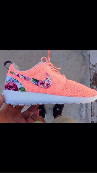 shoes pink flowers nike nike roshe run colorful coral floral nikes nike running shoes neon floral