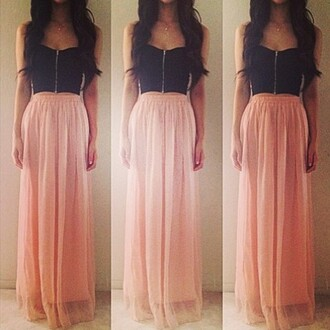dress maxi dress peach black blouse bag skirt maxi skirt pink chiffon bralette shirt prom dress tank top black crop top zip top pastel pink and black dress long skirt long pink skirt pink long skirt