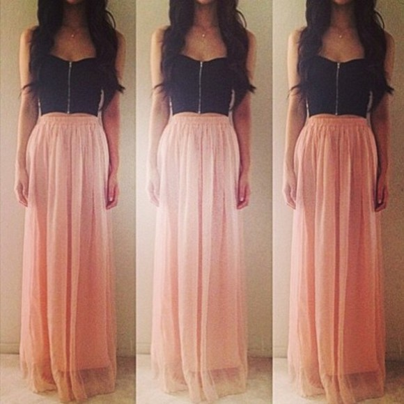 skirt long skirt dress maxi dress peach black blouse bag maxi skirt pink chiffon bralet shirt prom dress tank top black crop top zip top pastel pink and black dress