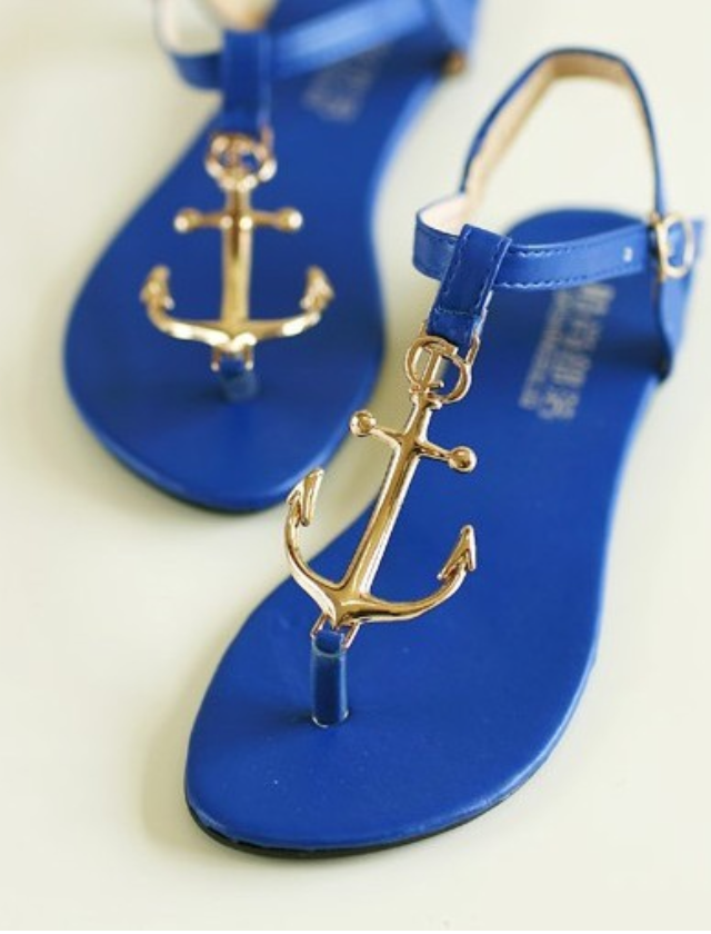 Between seasons boutique — blue jerry anchor sandals